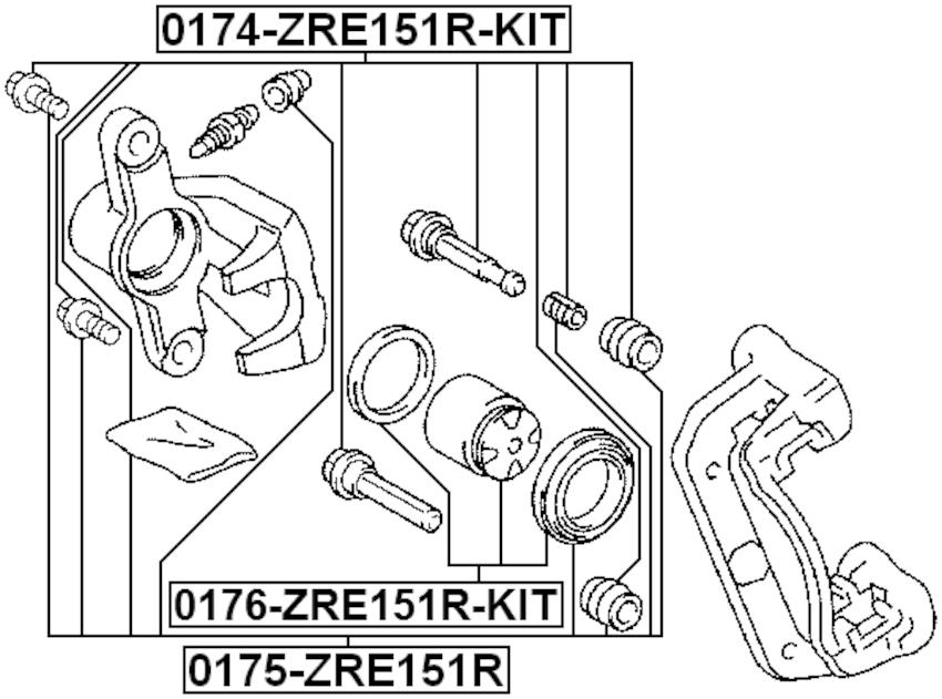 Brake Caliper Pin Slide Rear FEBEST 0174-ZRE151R-KIT OEM