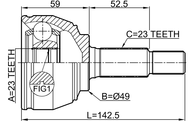 Outer Cv Joint 23X49X23 Febest 0210-E11E Oem 39100-BC600