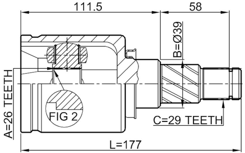 Inner Joint Left 26X39X29 Febest 0211-T30LH Oem 39101
