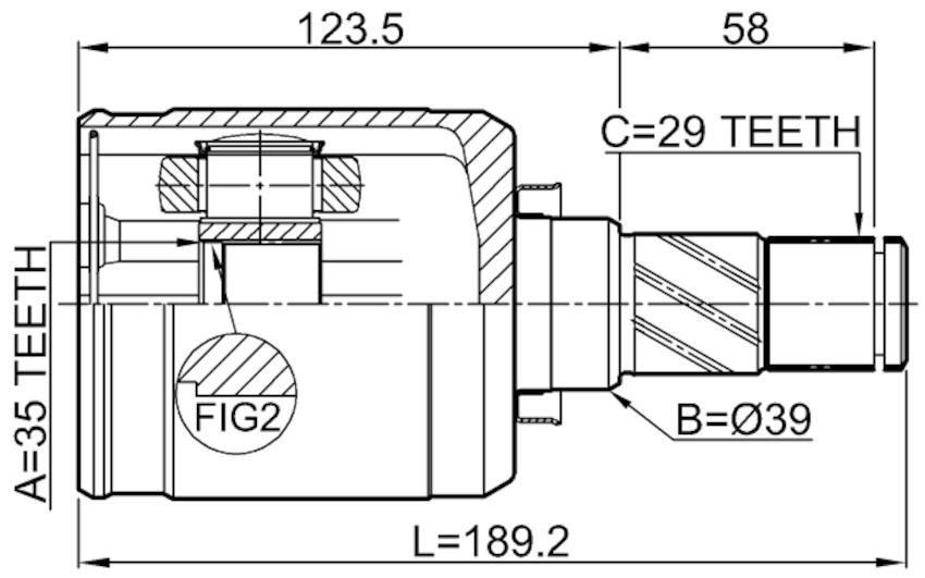 Inner Joint Left Febest 0211-T31MTLH OEM 39711-JG04B for