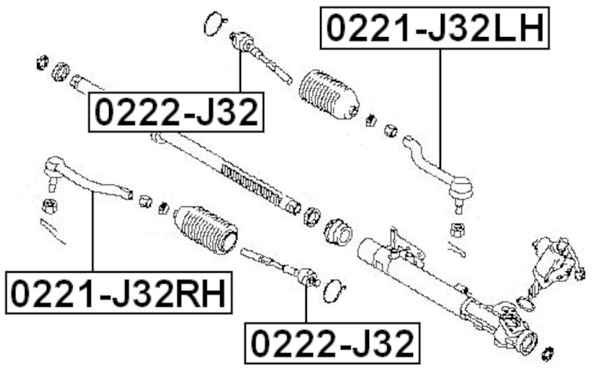 Steering Tie Rod End Left FEBEST 0221-J32LH OEM D8640