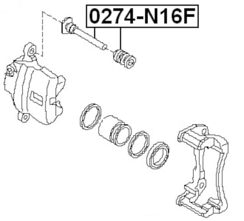 Brake Caliper Pin Slide Front FEBEST 0274-N16F OEM 41139