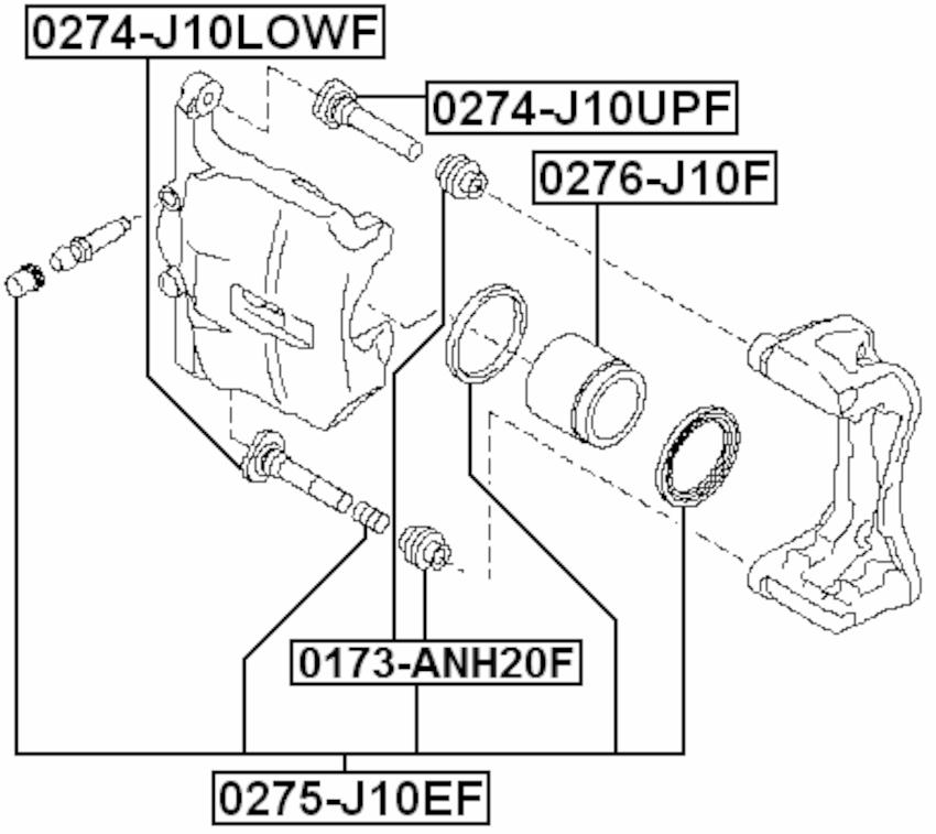 Brake Cylinder Caliper Repair Kit FEBEST 0275-J10EF OEM