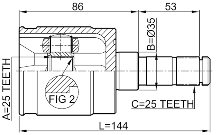 Inner Joint Right 25X35X25 FEBEST 0311-GDRH OEM 44310-SFA