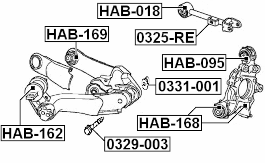Fits Honda Trailing Arm Adjust Plate Febest 0331-001 OEM