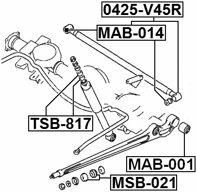 For MITSUBISHI PAJERO II V14W-V55W 1991-2004 Rear Track