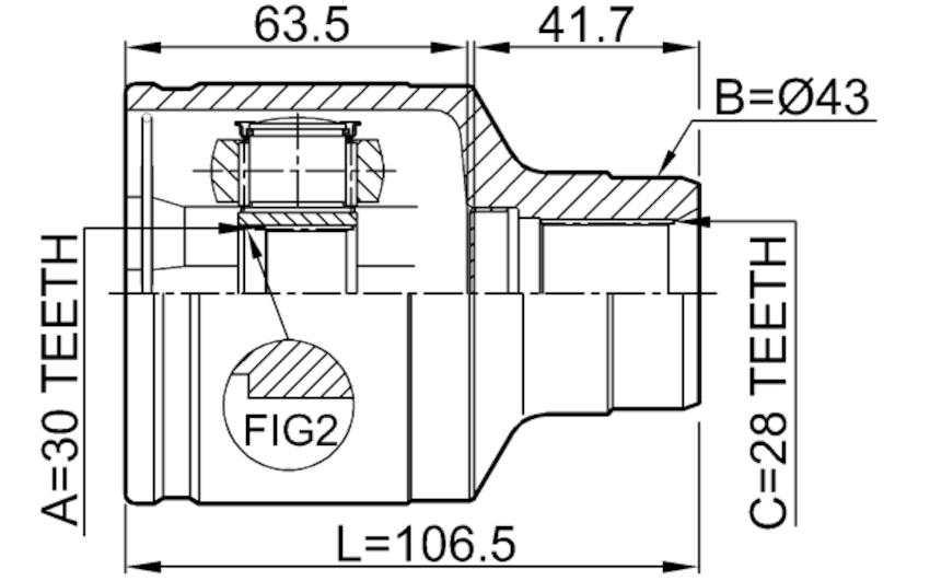 Inner Joint Right 30X43X28 FEBEST 0511-GFRH OEM GD17-22