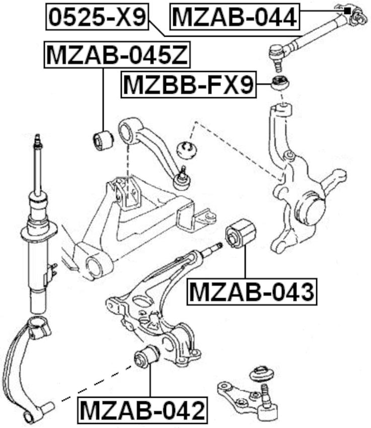 For MAZDA XEDOS-9/MILENIA TA 1993-2001 FRONT TRACK CONTROL