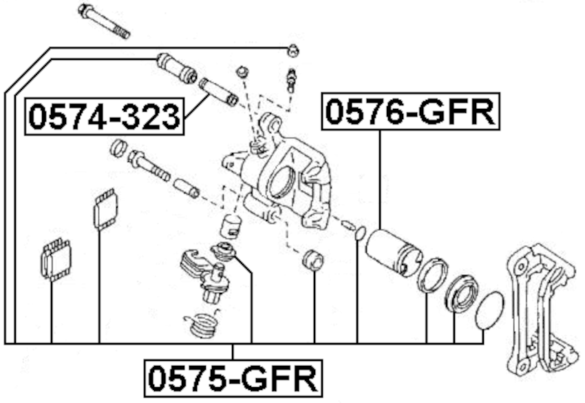 DISC BRAKE CALIPER Repair Kit Rear Febest 0575-GFR fits 01