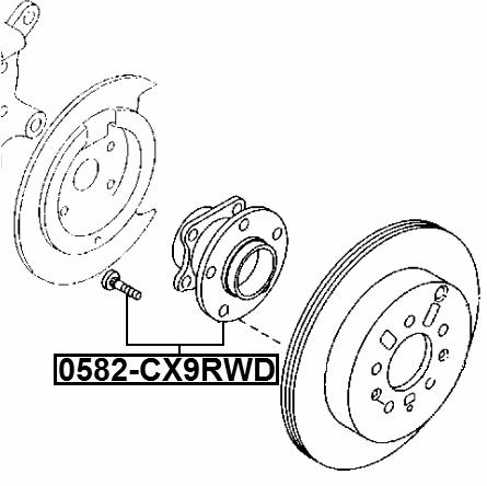 10-14 Mazda CX9 Rear Axle Wheel Bearing & Hub Assembly