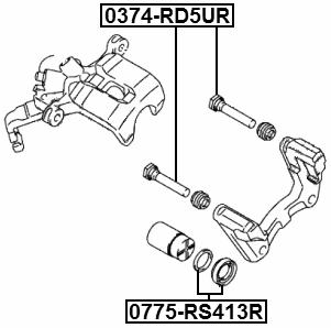 Rear Brake Caliper Repair Kit Febest 0775-RS413R Oem 55880