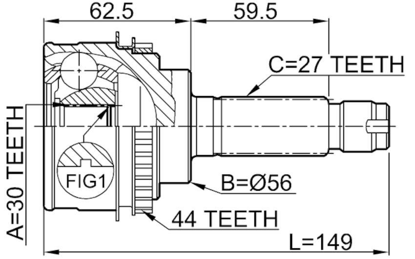 Outer Cv Joint 30X56X27 For Subaru Impreza G11 2000-2007