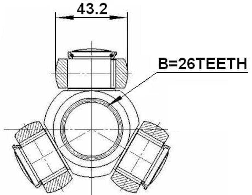 Spider Assembly Slide Joint 26X43.2 FEBEST 2716-S80T OEM