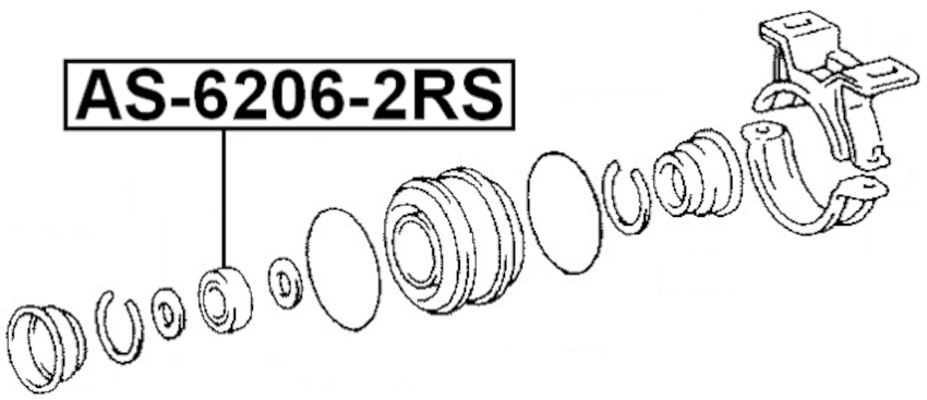 Ball Bearing 30X62X16 Febest AS-6206-2RS Oem 9-00090-162