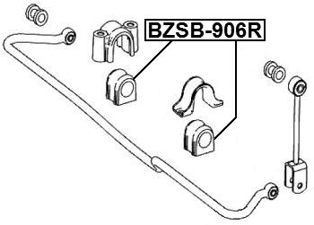 Rear Sway Bar Bushing Stabilizer D33 FEBEST BZSB-906R OEM