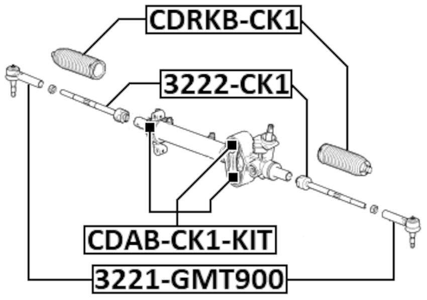 Arm Bushing For Steering Gear Kit FEBEST CDAB-CK1-KIT OEM