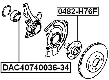 Front Wheel Bearing 40X74X34X36 Febest DAC40740036-34 Oem