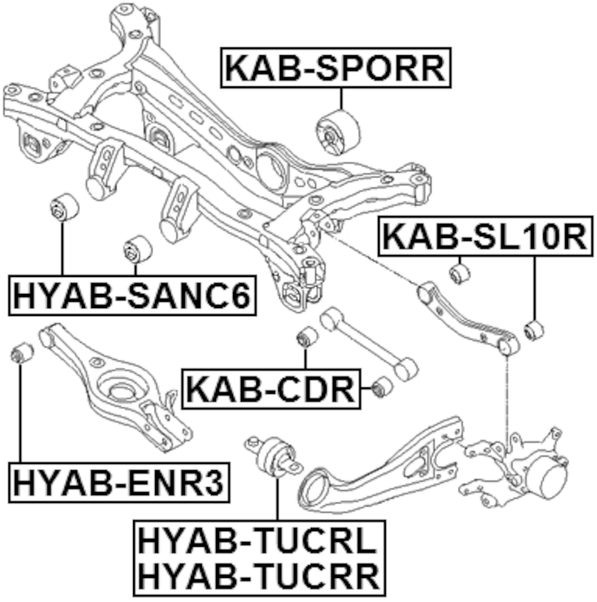 Arm Bushing Differential Mount FEBEST KAB-SPORR OEM 21772