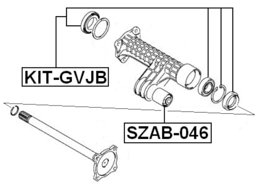 Ball Bearing Kit Rear Axle Shaft 30X62X16 FEBEST KIT-GVJB