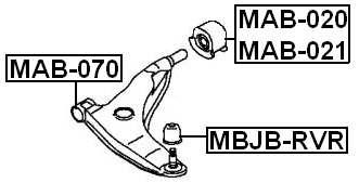 Rear Arm Bushing Left Front Arm Febest MAB-021 Oem