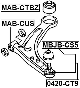 Suspension Control Arm Bushing Febest MAB-CTBZ fits 04-06