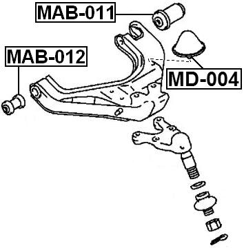 Front Spring Bumper Strut Shock Bump Stop FEBEST MD-004