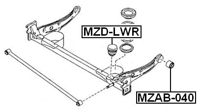 Suspension Trailing Arm Bushing Rear Febest MZAB-040 fits