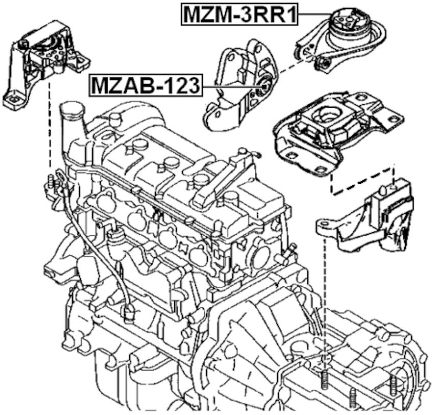 Arm Bushing Rear Engine Motor Mount FEBEST MZAB-123 OEM