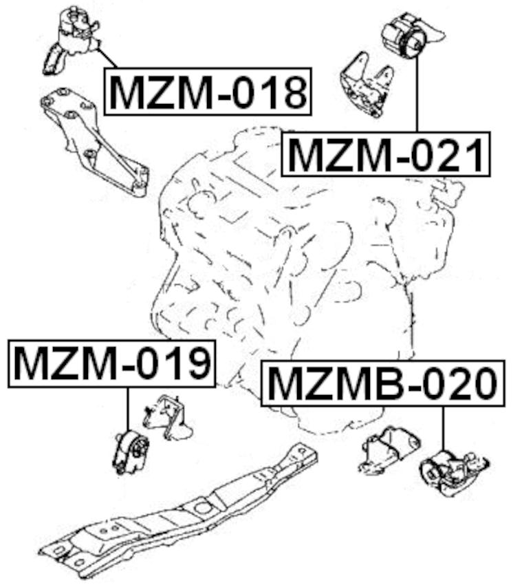 Engine Torque Damper Febest MZM-021 fits 02-06 Mazda MPV 3