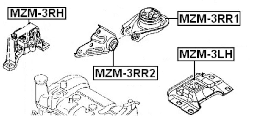 Right Engine Motor Mount (Hydro) FEBEST MZM-3RH OEM BP4K