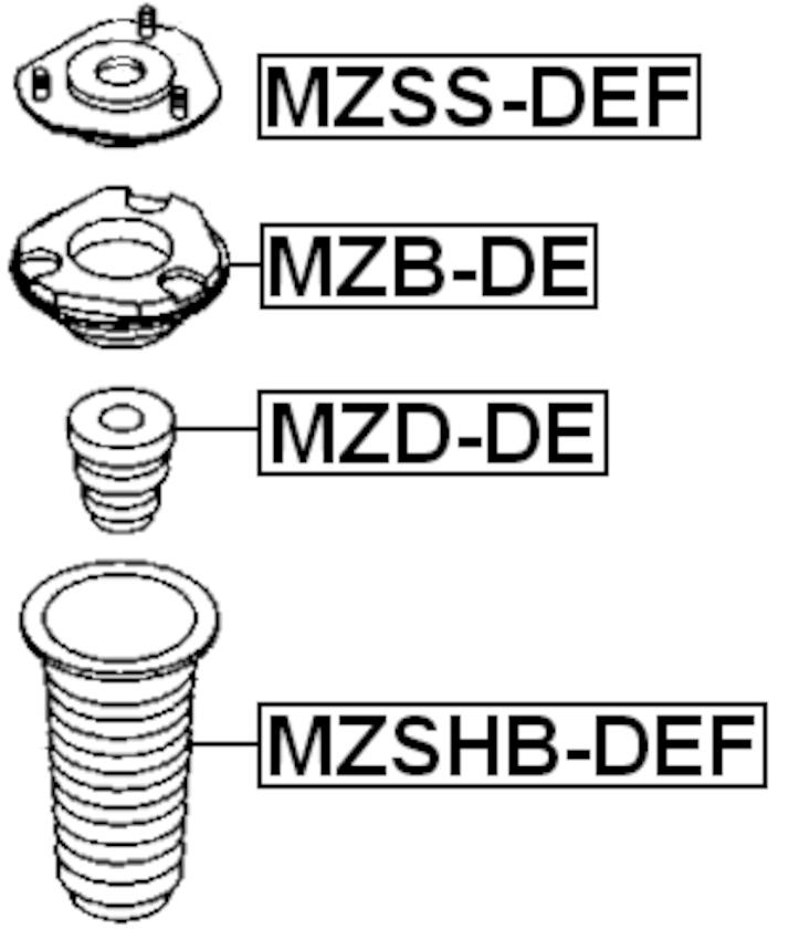 Front Shock Absorber Boot Febest MZSHB-DEF Oem D651-34-012