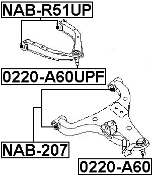 Bushing Front Lower Control Arm FEBEST NAB-207 54501-7S002