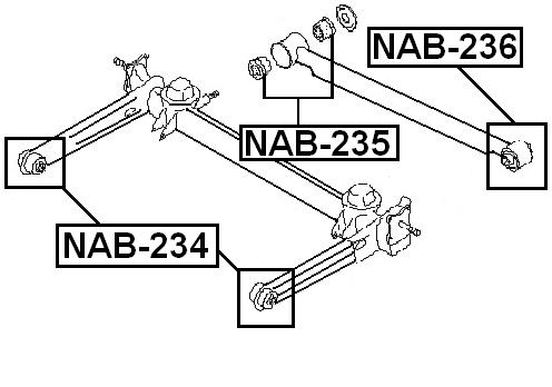 Arm Bushing For Rear Track Control Rod 2 Pcs FEBEST NAB