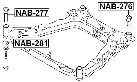 Rear Body Bushing Febest NAB-276 Oem 54467-JD00A