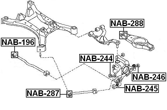 Arm Bushing Rear Suspension Febest NAB-288 Oem 551B0-JA000