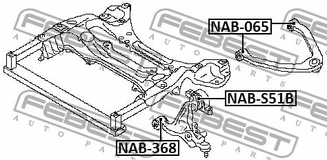 Front Arm Bushing Front Lower Arm Febest NAB-368 Oem 54500