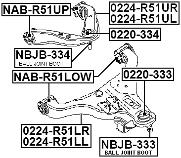 Bushing Front Upper Control Arm FEBEST NAB-R51UP OEM 54525