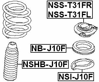 Front Shock Absorber Bearing FEBEST NB-J10F OEM 54325
