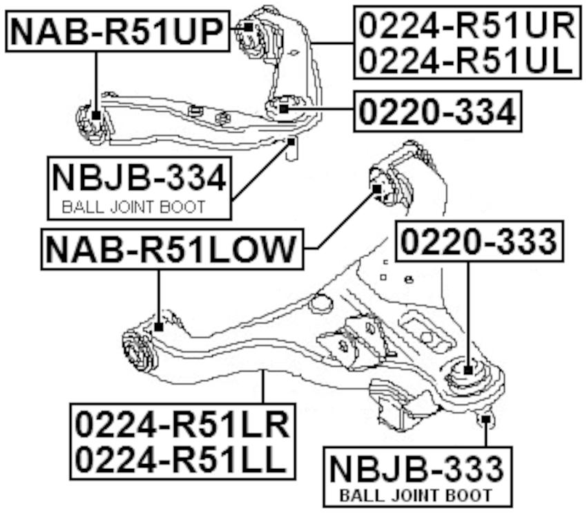 Front Upper Arm Ball Joint Boot Febest NBJB-334 Oem 54524