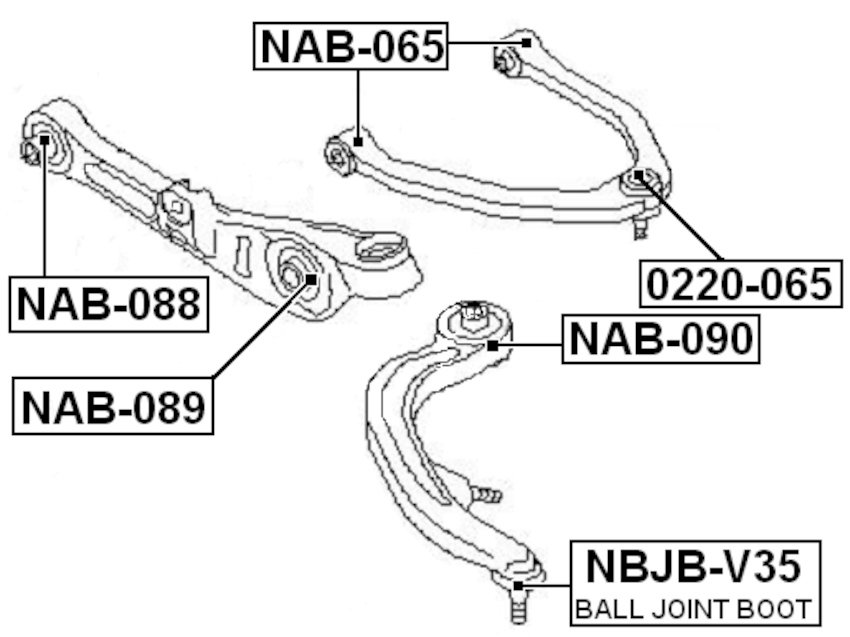 Lower Arm Ball Joint Boot FEBEST NBJB-V35 OEM 54469-AC70F