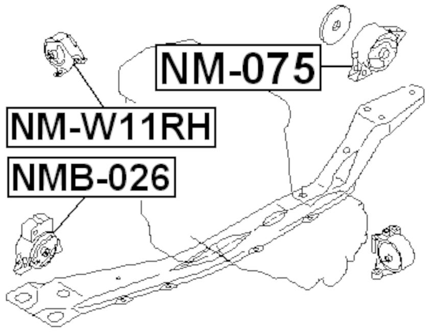 Right Engine Motor Mount (Hydro) FEBEST NM-W11RH OEM 11210