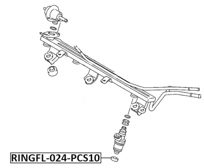 O-Ring Fuel Injector Pcs 10 Febest RINGFL-024-PCS10 Oem