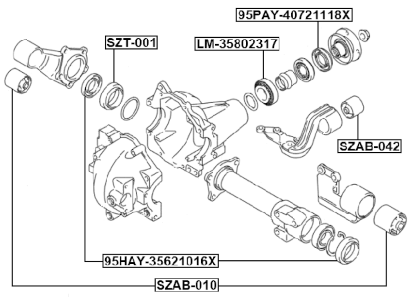 Front Differential Mount FEBEST SZAB-010 OEM 27550-60A00