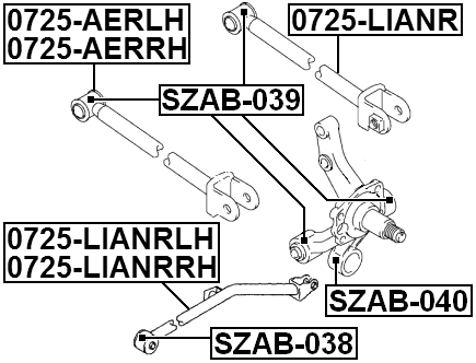 ARM BUSHING REAR ASSEMBLY For Suzuki GRAND VITARA 1998