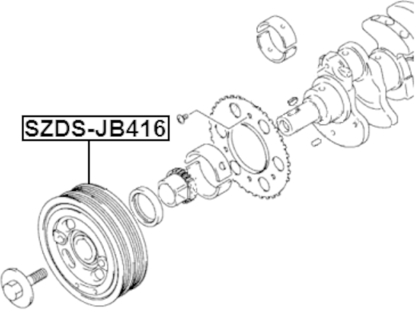 Crankshaft Pulley Engine Febest SZDS-JB416 Oem 12610-64J00