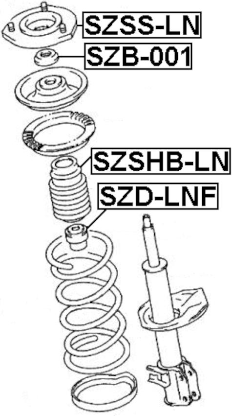 Front Shock Absorber Strut Boot Bellow FEBEST SZSHB-LN OEM