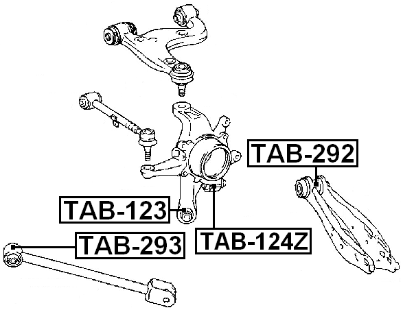 Arm Bushing Rear Assembly FEBEST TAB-123 OEM 42305-51010