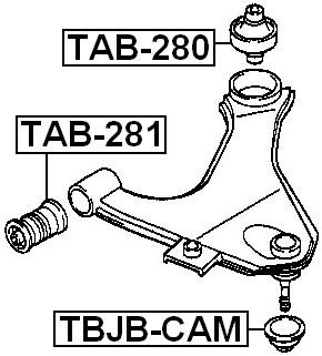 Rear Arm Bushing Front Arm Febest TAB-280 Oem 48655-87401