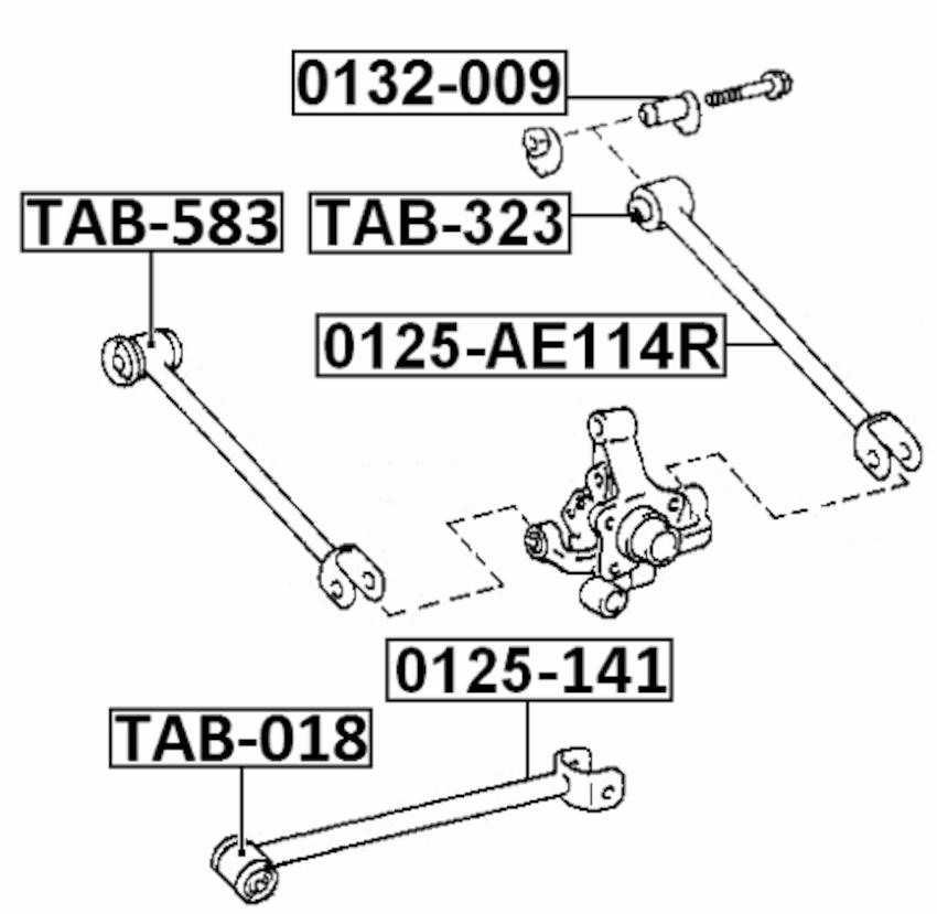 Arm Bushing For Rear Track Control Rod FEBEST TAB-323 OEM
