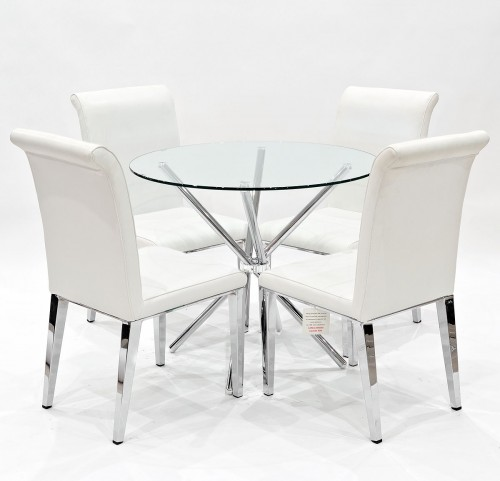 kirklands dining chairs little tikes chunky table and criss cross clear glass set kirkland chair with white